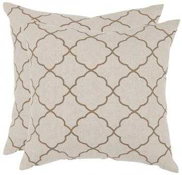"Sophie 18"" Pillows - Set of 2 - Oatmeal - Down insert - Home Decorators"