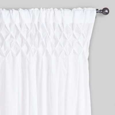 """White Smocked Top Cotton Curtains, Set of 2 - 42""""W x 96""""L - World Market/Cost Plus"""