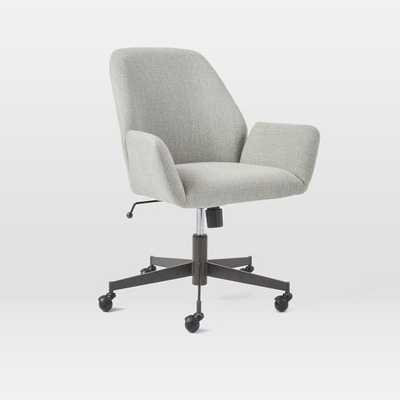 Aluna Upholstered Office Chair - Feather Gray/Antique Bronze - West Elm