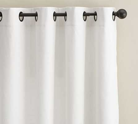 "Emery Linen/Cotton Grommet Drape - Cotton Lining - White - 96""L - Pottery Barn"