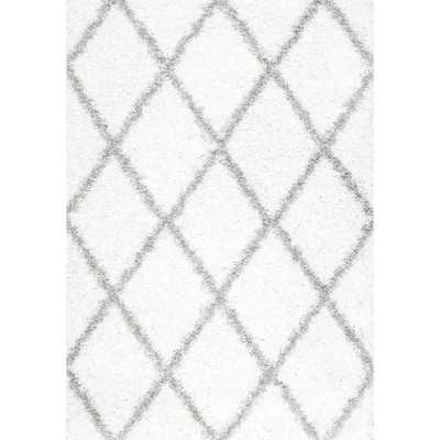 Shanna Shag White 6 ft. 7 in. x 9 ft. Area Rug - Home Depot