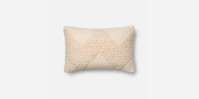 "P1007 MH IVORY Pillow Cover - 13"" x 21"" with Down Insert - Loma Threads"