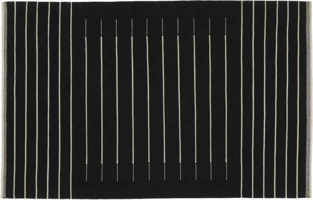 black with white stripe rug 6'x9' - CB2