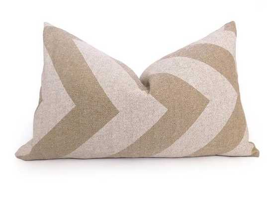 Grande Chevron  Pillow Cover - Natural /White - 12'' x 20''- insert not included - Willa Skye