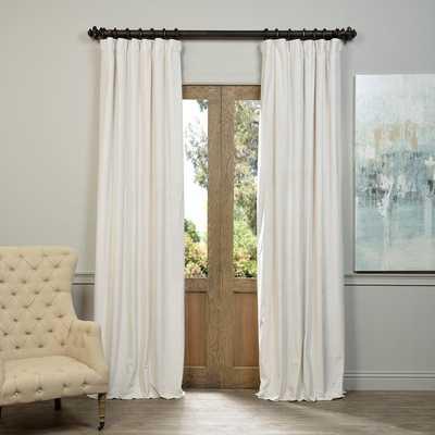 "Signature Off White Velvet Blackout Curtain Panel - 84"" - Overstock"
