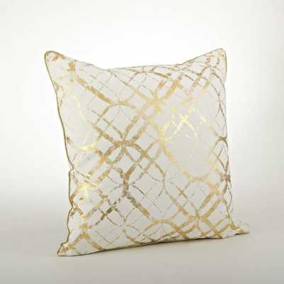 "Metallic Foil Print Pillow - Gold - 20"" - Down insert - Overstock"