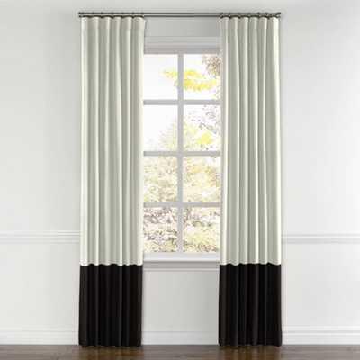 Convertible Drapery Sunbrella® White & Black - 60'' x 94''  - Privacy Lining - Pair, Split Draw - Loom Decor