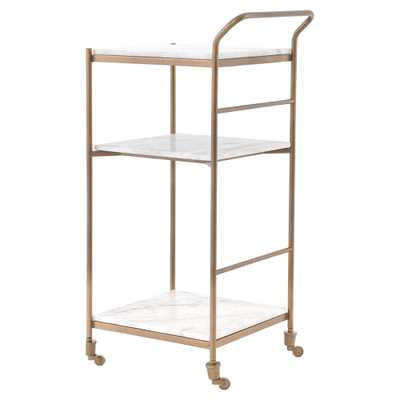 Arianna Modern Classic Brass Frame 3-Tier Marble Bar Cart - Kathy Kuo Home