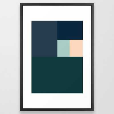 BLUE BOXES - Vector Black Frame - Society6