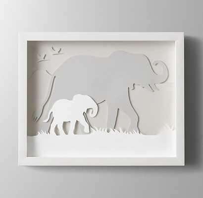 "Animal Silhouette Art - Elephant -  15"" x 12¼"" - White Frame - RH Baby & Child"