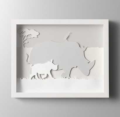 "Animal Silhouette Art - Rhino - 15""W x 12¼""H - White Frame - No Mat - RH Baby & Child"