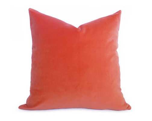 "Cotton Velvet Pillow Cover - Coral Orange - No Insert - 18""X18"" - Willa Skye"
