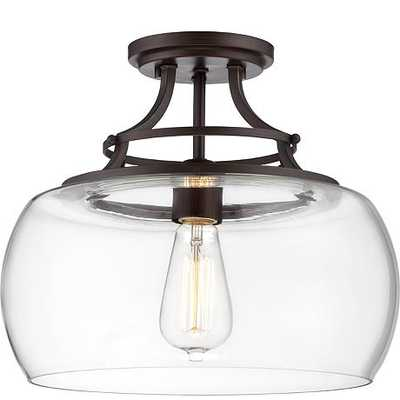 """Charleston Bronze 13 1/2"""" Wide Clear Glass Ceiling Light - Lamps Plus"""