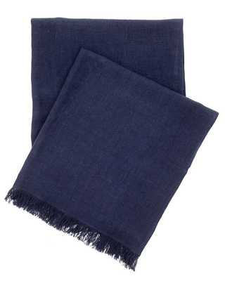 STONE WASHED LINEN INDIGO THROW - Pine Cone Hill