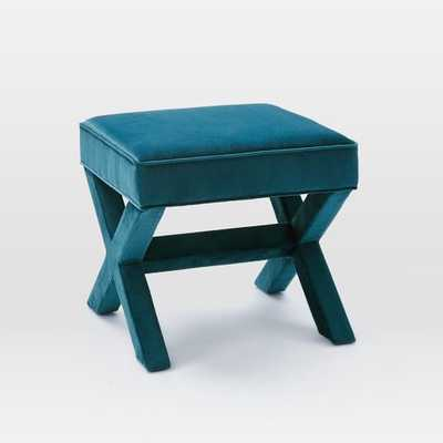 Cross Base Ottoman - Celestial Blue - West Elm