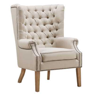 Kaitlyn Beige Linen Wing Chair - Maren Home