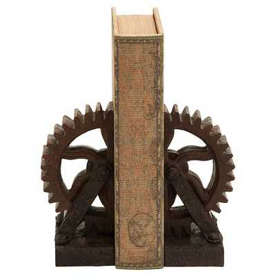 Rusted Gear Themed Book End Set - Target