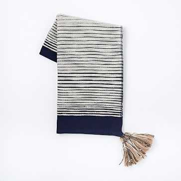 Textured Stripe Throw, Nightshade - West Elm
