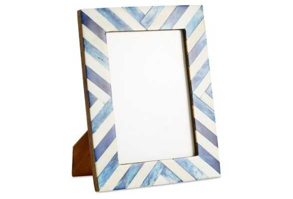 Chevron Bone Frame, 5x7, Blue - One Kings Lane