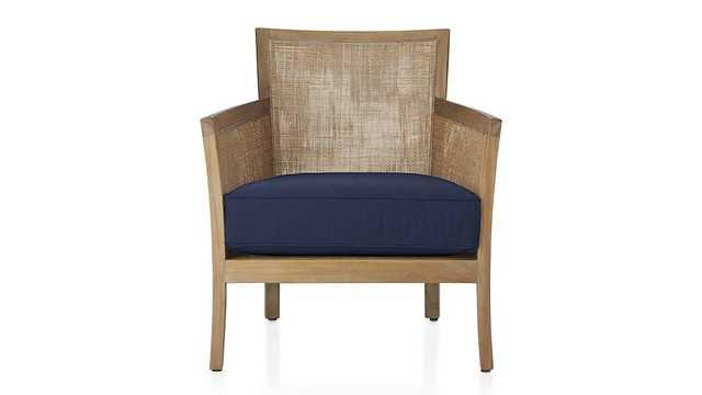 Blake Grey Wash Chair with Fabric Cushion - Denim - Crate and Barrel