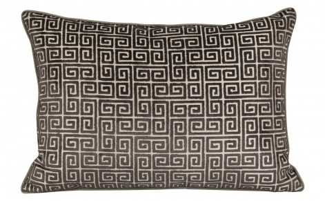 VELVET KEYS CHARCOAL PILLOW- 14'' x 20'' - down and feather insert - Jayson Home