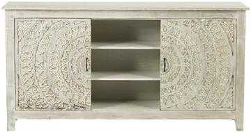 Chennai Sliding Door Media Cabinet - White Wash - Home Decorators