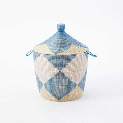 Graphic Printed Oversized Baskets - Navy/Yellow/Natural - West Elm