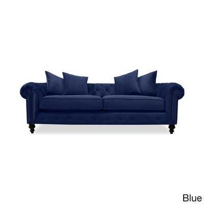 """Patrick Chesterfield European Velvet Button-tufted Sofa-Blue 72"""" - Overstock"""