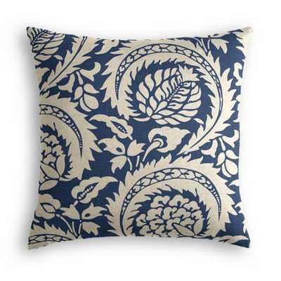 Throw Pillow  Lisbon - Indigo - 18x18 - down insert - Loom Decor