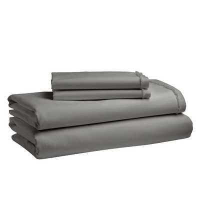 Organic Cotton Frayed-Edge Sheet Set - Queen- Slate - West Elm