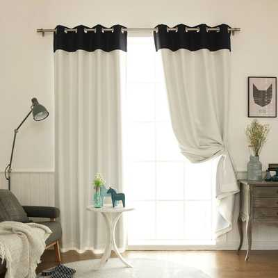 Aurora Home Top Border Faux Silk Blackout Curtain Panel - Overstock