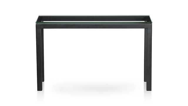 Parsons Dark Steel Console Table with Glass Top - Crate and Barrel