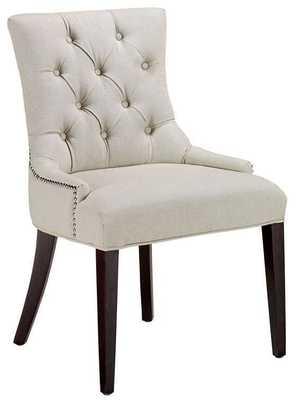 Becca Nailhead Dining Chair - Tufted Natural Linen - Home Depot