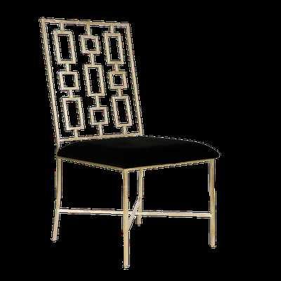 SILVER LEAF DINING CHAIR W. BLACK VELVET SEAT - Worlds Away