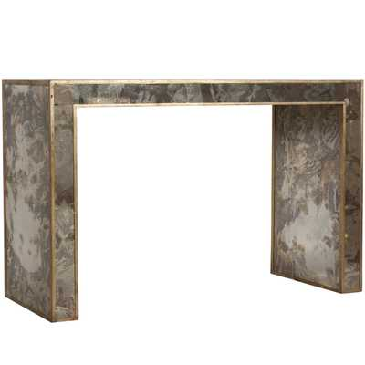 Reverse antique mirrored console with gold leafed edges - Worlds Away
