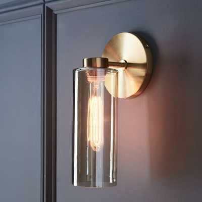 Glass Cylinder Sconce - Single (Antique Brass/Champagne Luster) - West Elm