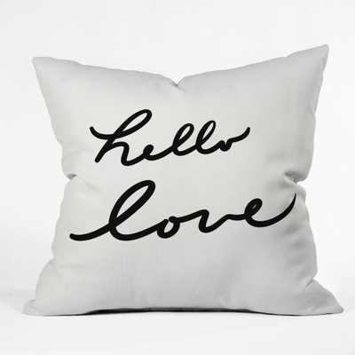 """HELLO LOVE ON WHITE Throw Pillow - 16"""" x 16"""" - Indoor - With Insert - Wander Print Co."""