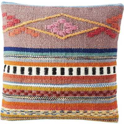 "Cusco 16"" pillow with feather-down insert - Multicolored - CB2"