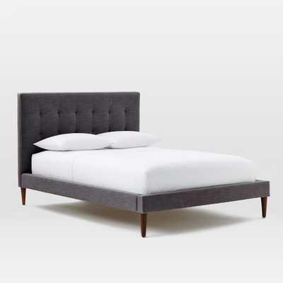 Grid-Tufted Upholstered Tapered Leg King Bed - Linen Weave, Steel Gray - West Elm