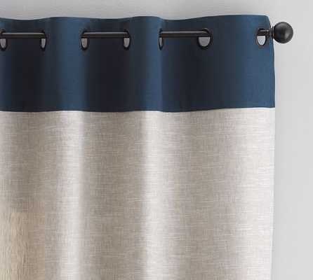 "Emery Border Linen Drape - Flax/Navy - 84""L - Pottery Barn"