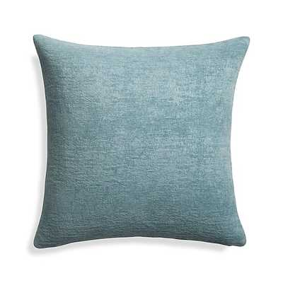 """Roussel Blue Velvet 20"""" Pillow with Down-Alternative Insert - Crate and Barrel"""