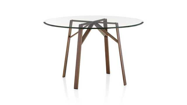 """Belden Round Dining Table With 42"""" Glass Top - Crate and Barrel"""