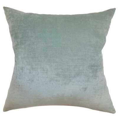 "Haye Solid Pillow Aqua -12''x18"" - Down Insert - Linen & Seam"
