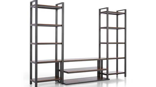 """Pilsen 52"""" Graphite Media Console with 2 Walnut Bookcases - Crate and Barrel"""