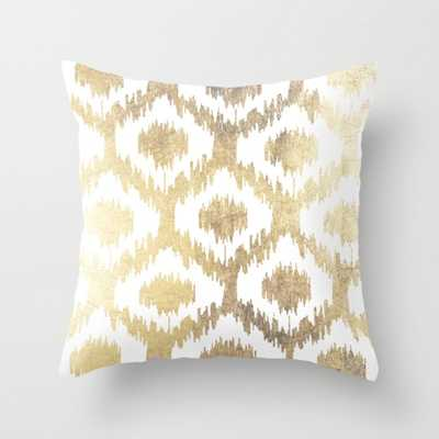 Modern white hand drawn ikat pattern faux gold pillow- insert included - Society6