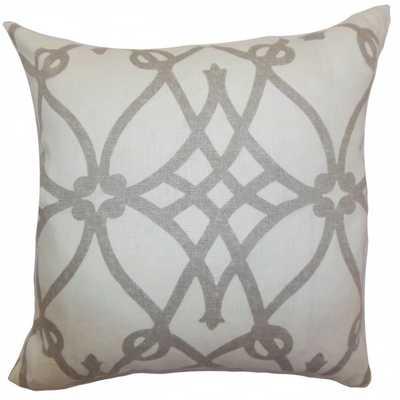 """Quenild Geometric Pillow Charcoal - 18"""" x 18"""" - Down Insert - Linen & Seam"""