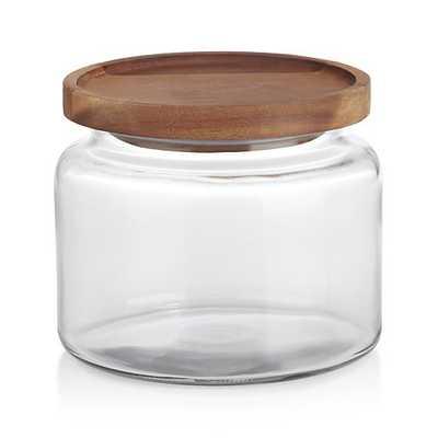 Montana 48 oz. Small Acacia and Glass Jar - Crate and Barrel