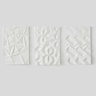 """Papier Mache Wall Art - Geo Panel -Assorted Set of 3- 26""""w x 5""""d x 37""""h- Unframed - West Elm"""
