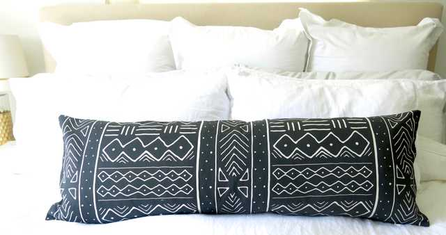 """Mudcloth Pillow Cover - Faded Black - 14"""" x 36"""" - - Willa Skye"""