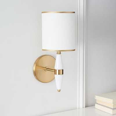Roar + Rabbit Faceted Glass Sconce – White/Antique Brass - West Elm